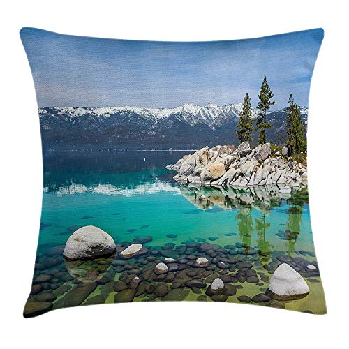 Nature Throw Pillow Cushion Cover, Picturesque Lake Thao by Mountain Range with Snowy Peaks Rock Scenery, Decorative Square Accent Pillow Case, 18 X 18 Inches, Turquoise Light Blue Grey