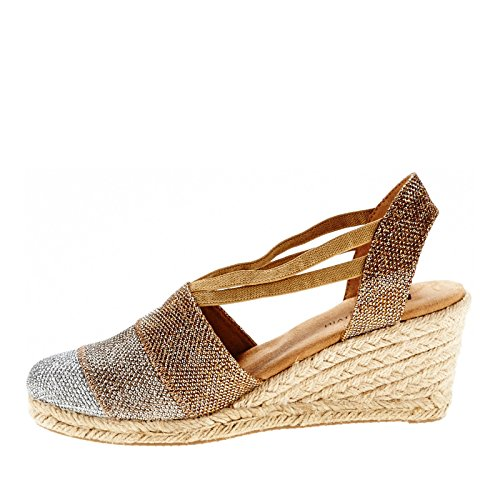 White Mountain Supreme Toile Espadrille Bronze-Glitter