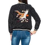 Dress Sheek Damen Herbst Frühling Bomberjacke Steppmantel Bikerjacke Kurz Jacke mit Adler Design auf Rücken
