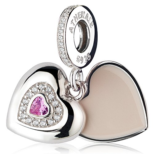 Athenaie 925argento placcato platino con cz rosa cuore beloved mother pendent gocce fit tutti i braccialetti europei