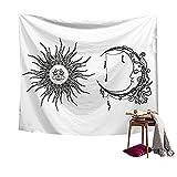 HANSHI Wandteppich Indisch und Böhmisch Stil Aus Polyster Schöne Dekoration Sonne Mond Natürlich Geheimnisvoll Gefüh