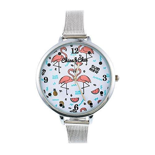 Souarts Damen Armbanduhr Einfach Mesh Metallarmband Flamingo Ananas Regenbogen Casual Analoge Quarz Uhr Silber Farbe (Flamingo 1)