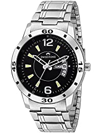 Swisstone G155-BLK Day And Date Display Stainless Steel Chain Wrist Watch For Men