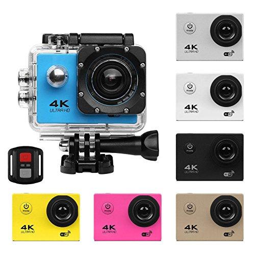 Action Kamera 720P Ultra HD WiFi 30M wasserdicht Tauchen Schnorcheln Sport DV Mini Cam Camcorder+Fernbedienung für Kinder,Schnorcheln,Motorrad,Fahrrad,Helm,Auto,Ski und Wassersport