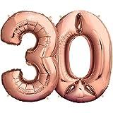 Zenball Rose XXL Folienluftballon (100cm) - Zahl 30 - Riesige Heliumluftballons als Dekoration zum 30. Geburtstag