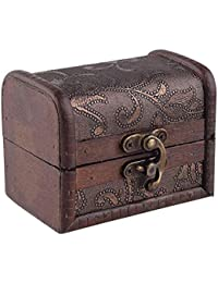 DESIGNEEZ 2017 Stylish Vintage Metal Lock Jewelry Treasure Chest Case Manual Wood Box Storage Box Vintage Flower...