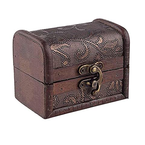 Stylish Vintage Small Metal Lock Jewelry Treasure Chest Case Manual Wood Box