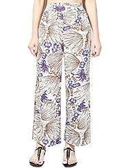 las Mujer Palazzo Pantalones Anchos en el Ethno Talle Alto Estampado Floral Largo Pantalones de gasa XXL 8