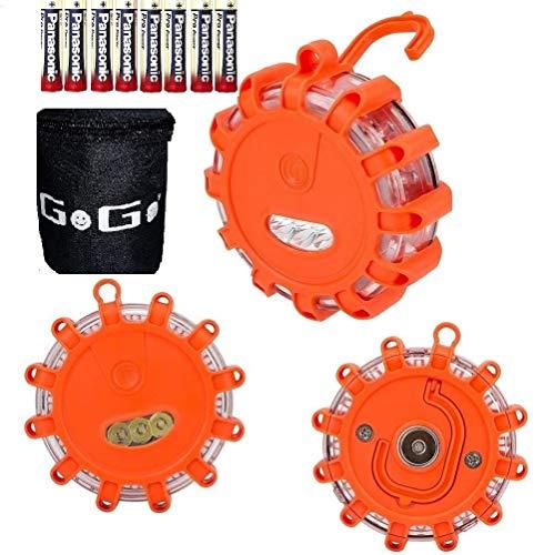 GOGO® 3LED Route Flares Clignotant Avertisseur routière Flare Disque d'urgence Beacon avec Sac pour Auto Bateau/2Ans de Garantie/sans Piles/Lot de 3
