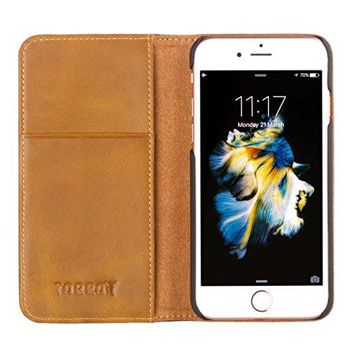 TORRO iPhone 8 Plus / iPhone 7 Plus Ledertasche / Hülle. Echtes, hochwertiges Leder mit Standfunktion, außen schwarz, innen braun für Apple iPhone 8 Plus / 7 Plus von TORRO Außen schwarz / innen braun