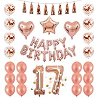 40inch Rose Gold 17th Number Balloon Seventeen Confetti Balloon Banner Star Heart Balloon Foil Tassel Garland Birthday Party Decoration