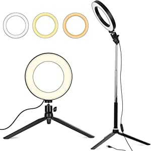 6 Zoll Led Ringlicht Mit Stativ Ständer Dimmbarer Ringleuchte Mit 127cm Einstellbarem Stickständer Selfie Livestream Blitzgeräte