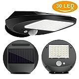 Solar Wandleuchte, 30 LED Solarleuchte Lampe mit Bewegungsmelder Aussen Solar Sensor, Led Wireless Wetterfeste Licht mit Batterie, für Garten, Zaun, Hof, Auffahrt, Treppen