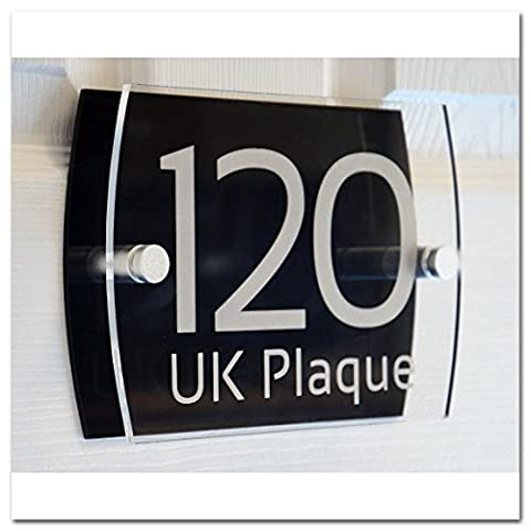 Left Right Rounded Rectangle Double Paste SILVER TEXT Effect | Modern Design Personalised Crystal Clear Plaque & Black Acrylic Decorative Back Plate House Numbers Signs | Street Name Signs | House Name Plaques | House signs | Door Plaques (6 Font Styles To