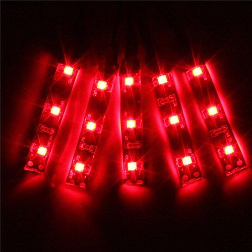 Preisvergleich Produktbild YONGYAO 5X 3528 SMD Rot Grün Blau Gelb Weiß 3Led Strip Light Ip65 Dc 12V Auto Lampe-Rot