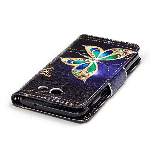 Samsung Galaxy J3 (2017) (5.0 pouce) Coque , PU Cuir Étui Protection Wallet Housse la Haute Qualité Pochette Anti-rayures Couverture Bumper Magnétique Antichoc Case Anfire Cover pour Samsung Galaxy J3 Noir et Papillon