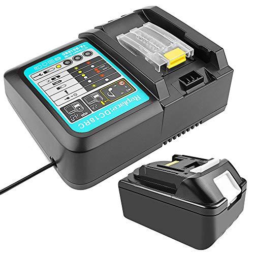 18 V 5.0 Ah BL1850 Batería con Cargador 3A Reemplazo para Makita Martillo ligero DHR171Z DHP458Z Taladro...