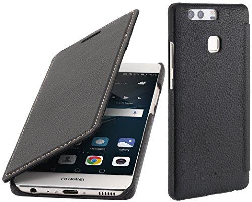 StilGut Book Type Case, Hülle Leder-Tasche für Huawei P9. Seitlich klappbares Flip-Case aus Echtleder für das Original Huawei P9, Schwarz