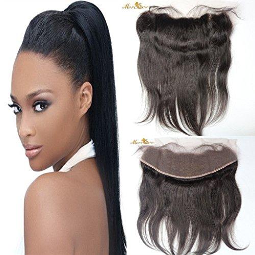 Moresoo 14 pouces Straight Bresilienne Humains Cheveux Ear to Ear Dentelle Frontal Tissage Vierge Hair Raides Lace Frontale Bleached Knots avec Bebe Cheveux Noir #1B