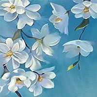 ZCHENG Pintado a mano Flor china 3D y Fondo de pantalla azul azul Estilo europeo Sala