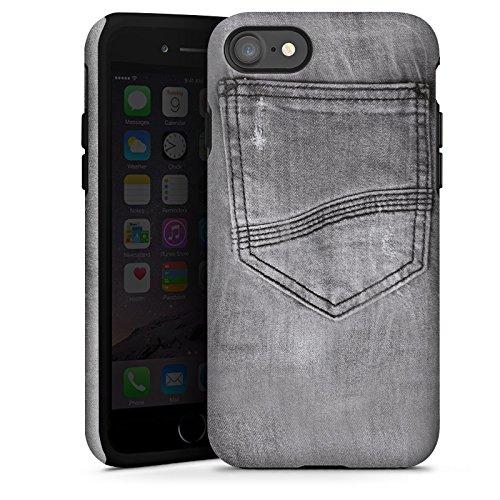 Apple iPhone X Silikon Hülle Case Schutzhülle Jeans Style Hose Grau Tough Case glänzend