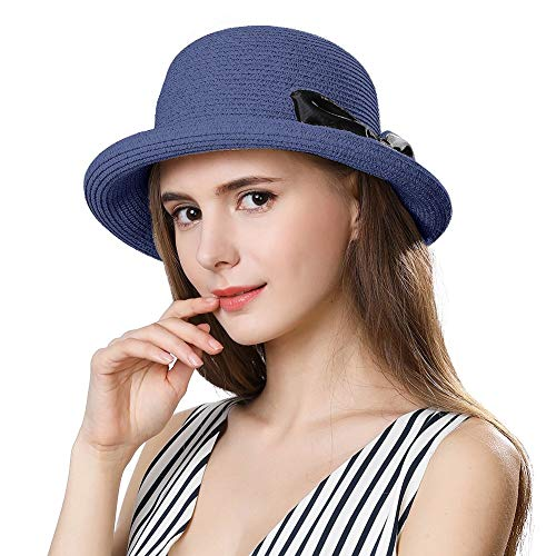QSEVEN Sun Hats Ladies Summer Sun Hats Women Floppy Panama Straw Beach Hats Foldable Rolled Short Brim - UPF 50 - Packable & Adjustable(55-58CM) (99037_NavyBlue) Roll-brim Straw
