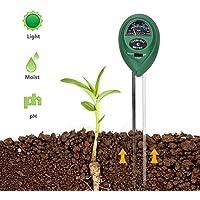 Coquimbo 3-en-1 Planta Kit de probador de Suelo, medidor de Humedad luz PH Prueba para el Crecimiento Vegetal, Cuidado del césped y Granjas (batería sin Necesidad)