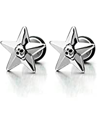 Pair Vintage Star Pentagram Skull Stud Earrings for Mens and Womens, Stainless Steel, Screw Back