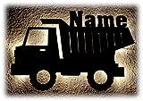 Kipplaster I Lkw Bagger Baustellen Fahrzeug Led Lampe Dekoration Schild für Kinder mit Name und optional mit Farbe