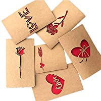 BJ-SHOP Greeting Cards,DIY Handmade Greeting Cards Flowers Retro Kraft Paper Cards Blank Inside Pack envelopes Multipack Birthday Present Wedding Anniversary Mother