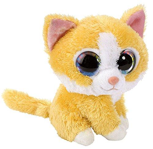 Sweet and Sassy Katze weiß - gelb Plüschtier mit Regenbogen Augen, Kuscheltier sitzend ca. 13 cm (Kätzchen Auch Niedliche)