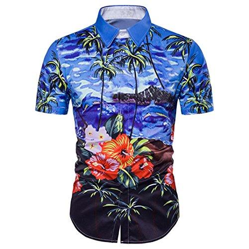 Herren Hawaiihemd Hawaiishirt Urlaub Hemd Strandhemd Freizeithemd Hawaii-Print Mit Kurzarm (Rose Und Kostüm Jack)