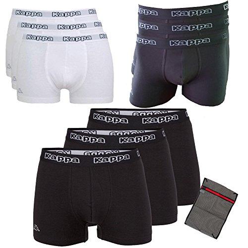 Kappa Herren-Boxershorts Black-Ziatec-Edition 3er - 6er oder 9er - Unterhosen Größe S - 4XL- Unterhosen - Unterwäsche für Männer, Farbe:3 x schwarz / schwarz, Größe:3XL (Herren-basketball - Pack)