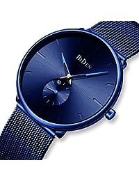 Relojes para Hombre Azul Acero Inoxidable Resistente al Agua Malla Reloj Simple de diseño analógico Cuarzo