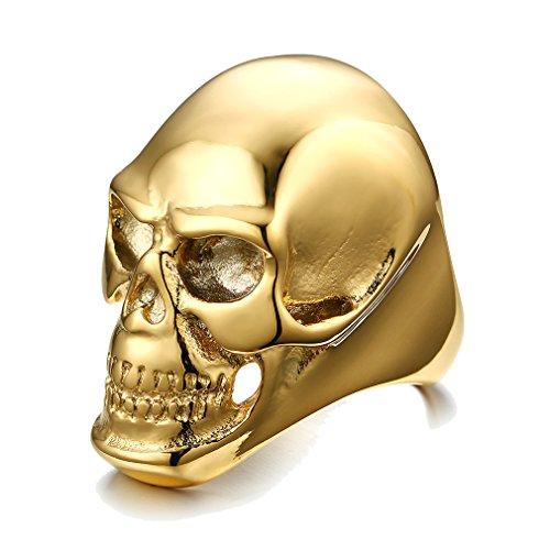 UM Joyería gótico Punk Acero inoxidable Hombres Cráneo anillos Oro Chapado