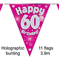 Happy 60th Birthday Pink Holographic Foil Party Bunting 3.9m Long 11 Flags