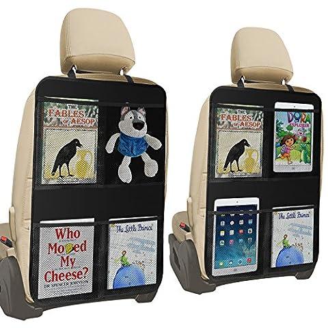 Premium Rückenlehnenschutz , 4 XX-Große Organizer-Taschen, Auto Rücksitz-Organizer für Kinder, Autositz-Schoner Wasserdicht, Kick-Matten-Schutz in universeller Passform (2 Stück) (70X50)