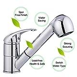 Qulista Ausziehbar Kalt- und Heißwasser Einhand-Waschtischarmatur Spültischbatterie Küchenarmatur mit Ausziehbrause, Schwenkbarer Auslauf (chrom)