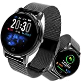 Smartwatch, Fitness Armband Tracker Voller 5ATM Wasserdicht Smart Watch Intelligente Aktivitäts Uhr Sportuhr, Damen Herren Pulsmesser Schlafmonitor SMS Beachten Armbanduhr für Android iOS (Schwarz)