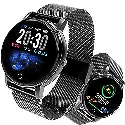 Smartwatch, Fitness Armband Tracker Voller 5ATM Wasserdicht Smart Watch Intelligente Aktivitäts Uhr Sportuhr, Damen Herren Pulsmesser Schlafmonitor SMS Beachten Armbanduhr für Android iOS(Schwarz)