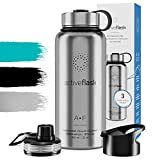 BeMaxx Gourde INOX Isotherme Active Flask 1l / 950ml sans BPA + 3 Bouchons | Bouteille d'Eau en Acier...
