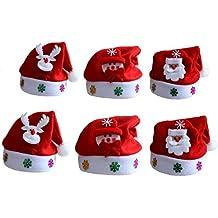 6Pezzi cappelli natalizi Babbo Natale pupazzo di neve per cappelli per  bambini e adulti 1888f62c6ea8
