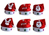 (Pack of 6) Red and White Christmas Hats Santa Claus Snowman Deer Hats for Childrens and Adults, Non-woven Christmas Hats for Celebrations and Recreation(3Pcs for Kids, 3Pcs for Adults)