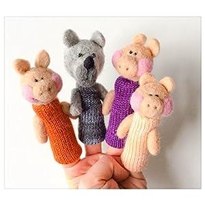 Finger Filzpuppen Die drei kleinen Schweinchen