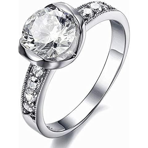 shining SaySure - zircon anillos de acero inoxidable anillo partido anillos de las mujeres Plateado plata Talla:9