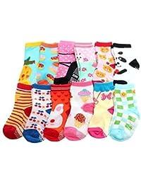 Bebé niñas Non Skid Calcetines multicolor Talla única edad 123años old Set D (Pack de 12)