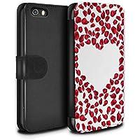 STUFF4 PU Pelle Custodia/Cover/Caso/Portafoglio per Apple iPhone SE / Petali Rosa Rossa / Cuore di Valentino disegno
