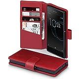 Xperia XA1 Hüllen, Terrapin [ECHT LEDER] Brieftasche Case Hülle mit Standfunktion Kartenfächer und Bargeld für Sony Xperia XA1 Hülle Rot