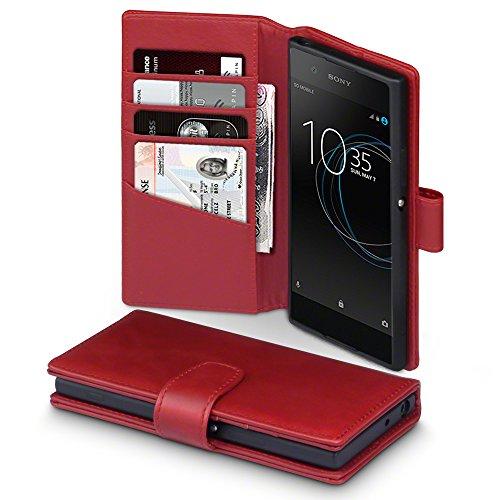 Terrapin, Kompatibel mit Sony Xperia XA1 Hülle, [ECHT LEDER] Brieftasche Case Tasche mit Standfunktion Kartenfächer und Bargeld - Rot EINWEG