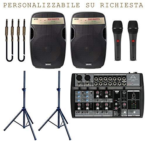 IMPIANTO AUDIO 835 PACK kit professionale con mixer, coppia di diffusori, supporti, 2 microfoni e cavi, per cantinette, bar, karaoke ecc.